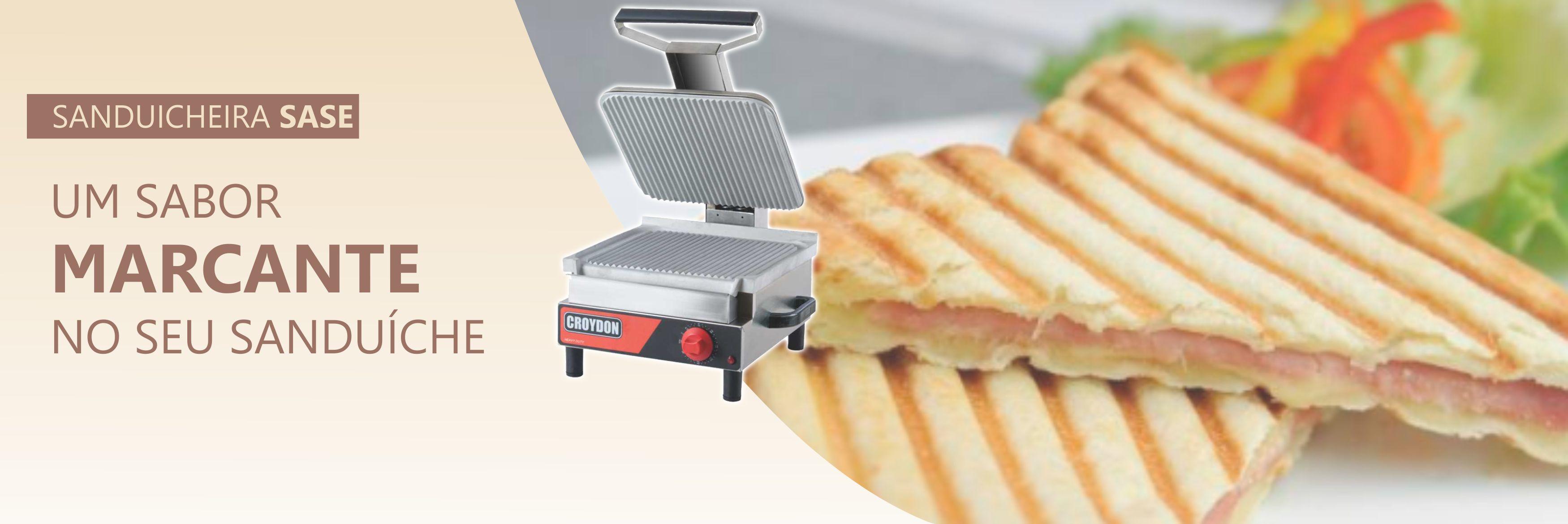 <p>As chapas estriadas dão um toque final no alimento.</p> <p>Prensas com limitador de fechamento ajustável evitam o esmagamento do sanduíche.</p>