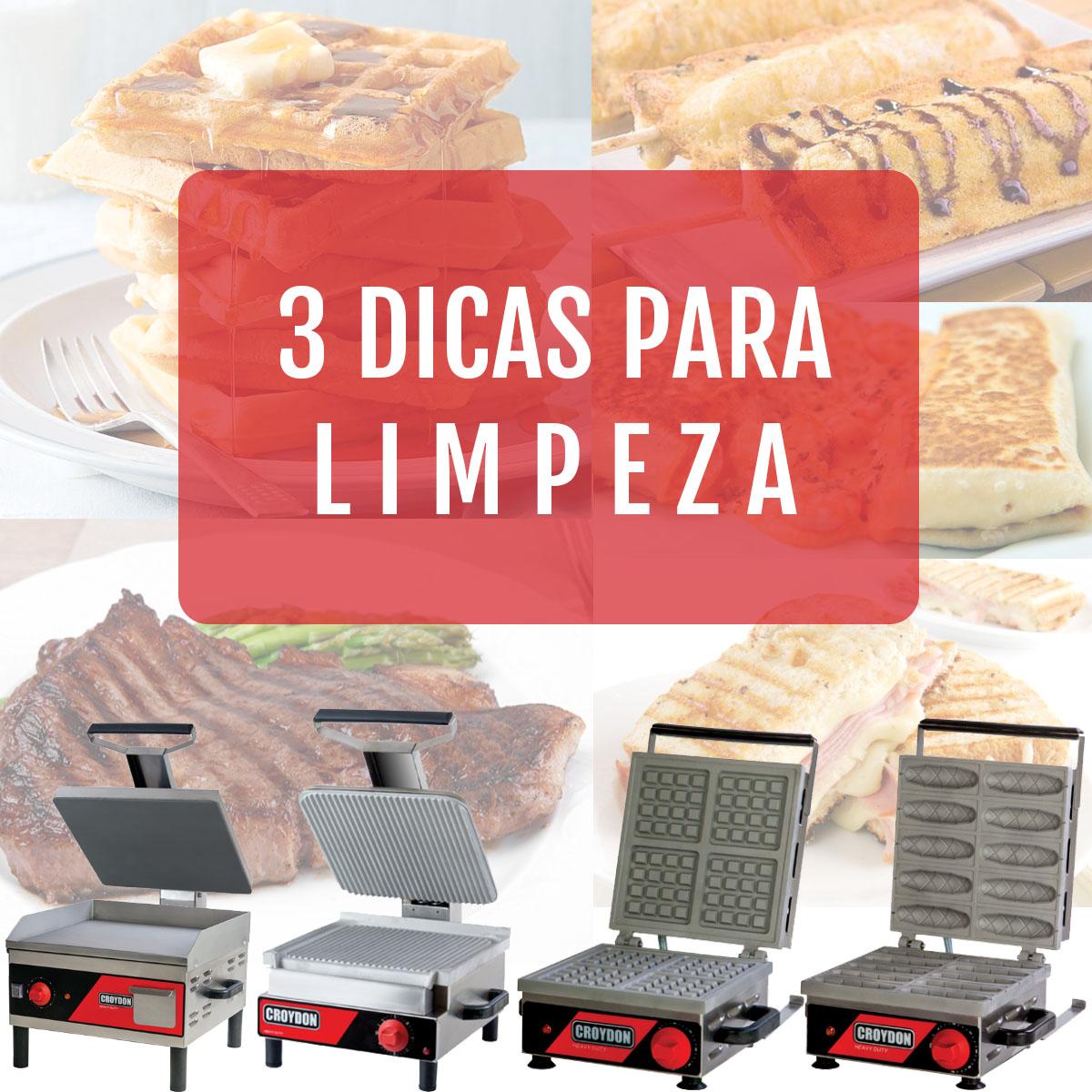 DICAS: Limpeza de churrasqueiras, panquequeiras, sanduicheiras, crepeiras e wafleiras.